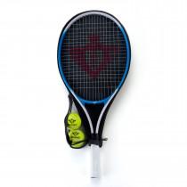 Tennisschläger mit Cover und 2 Bällen - Blau